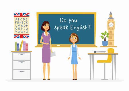 만화 사람들의 학교에서 영어 수업.