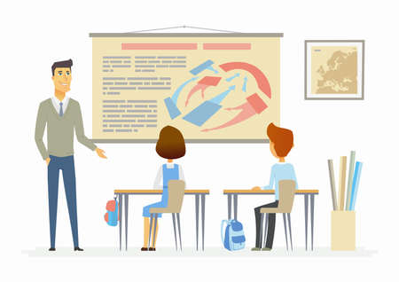Geschichtsstunde in der Schule eines modernen Cartoon-Menschen. Standard-Bild - 84003398