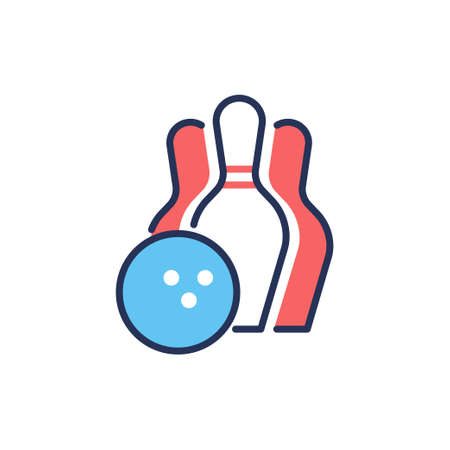 Bowling - modern vector line design single icon. 向量圖像