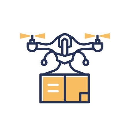 Delivery Drone - modern vector line design single icon.