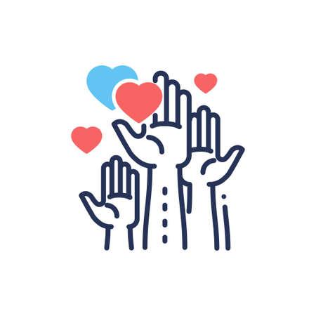 Wolontariat - nowoczesny wektor linii projektowania pojedynczej ikony.