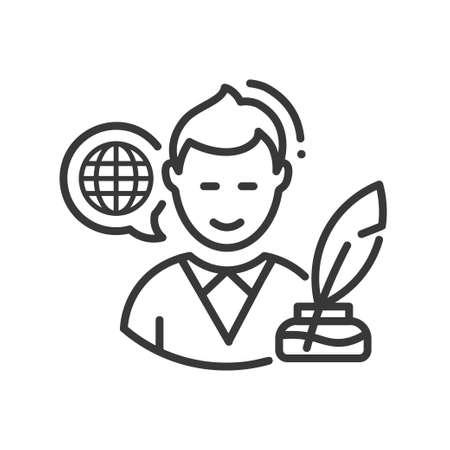 Biography - modern vector line design single icon.