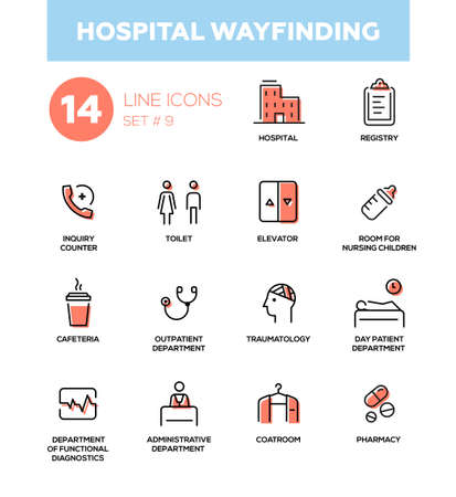 Hospital wayfinding - set of icons, pictograms. Hospital, registry, inquiry counter, coatroom, toilet, elevator, nursing children, outpatient, traumatology, day patient, diagnostics, pharmacy