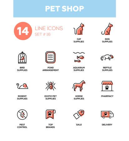 Pet Shop - ensemble d'icônes vectorielles, pictogrammes. Chat, chien, oiseau, aquarium, reptile, rongeur, animal de compagnie exotique, fournitures de cheval, arrangement d'étang, pharmacie, marques supérieures, lutte antiparasitaire, livraison, vente Banque d'images - 84282532