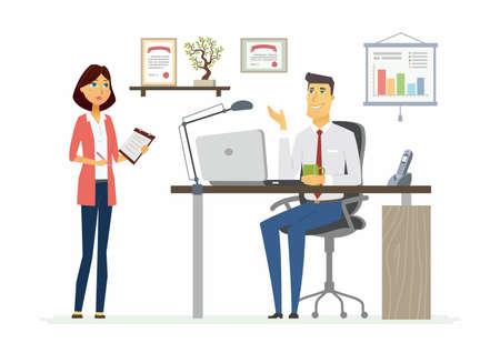 Office Scene - modern vector cartoon business characters illustration Ilustração