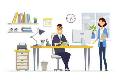 オフィス ミーティング - ビジネス状況のベクトル イラスト。若い女性、男性の同僚、パートナーの仕事を議論する人々 のキャラクターを漫画しま  イラスト・ベクター素材