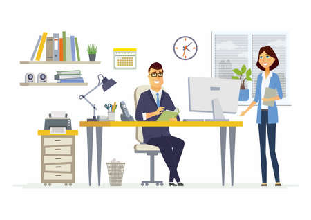 Office Meeting - vector illustration of a business situation. Cartoon people characters of young female, male colleagues, partners discussing work.