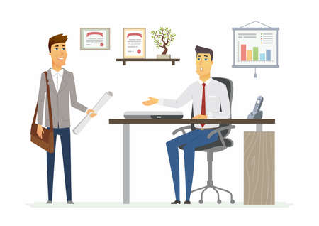 Office Day - vector illustration of a business situation. Cartoon people characters of young male colleagues, men at work.