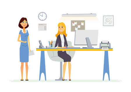 Office Scene - modern vector cartoon business characters illustration Ilustração