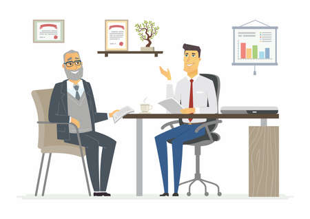 Office Meeting - vector illustration of a business situation scene. Cartoon people characters of young, senior males, men discussing work. Ilustração