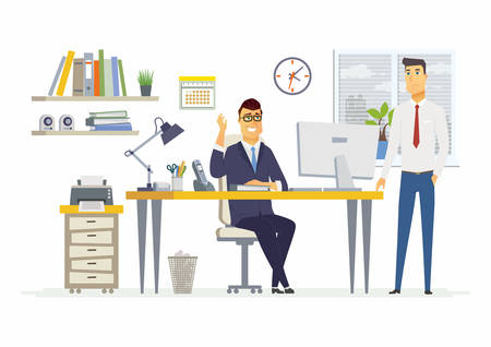 Office Scene - vector illustration of a business situation. Cartoon people characters of young, male colleagues, men, partners discussing work. Manager, supervisor, specialist talking, giving ideas Ilustração