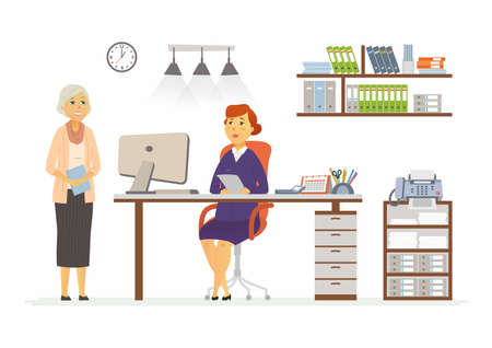 Office Scene - vector illustration of a business situation. Cartoon people characters of senior, middle age female colleagues at work. Manager, supervisor, secretary, reception discussing, planning