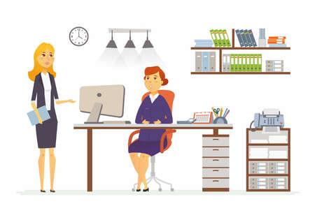 Bureaudiscussie - vectorillustratie van een bedrijfssituatie. De karakters van beeldverhaalmensen van jonge, vrouwelijke collega's op middelbare leeftijd op het werk. Manager, supervisor, secretaris die een plan bespreekt, rapporteert Stock Illustratie