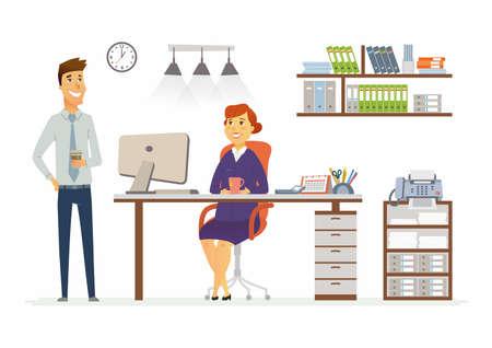 事務所相談 - ビジネス状況のベクトル イラスト。漫画の仕事で若い、中年女性、男性同僚の人々 のキャラクター。マネージャー、スーパーバイザー