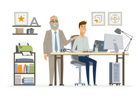 指導スタッフの紹介 - 現代ベクトル漫画ビジネス文字図。  イラスト・ベクター素材