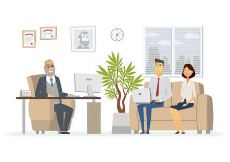 Office Head Consultation - vector illustration of a business situation. Cartoon people characters of senior male, young visitors at work. Company president, manager, advisor in armchair giving advice Ilustrace