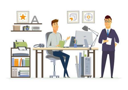 パートナー ミーティング - ビジネス状況のベクトル イラスト。若者、中年男性の同僚、パートナーの仕事を議論する人々 のキャラクターを漫画し