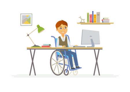 온라인 교육 - 장애인 된 학교 소년 집 컴퓨터에서의 그림. 일러스트