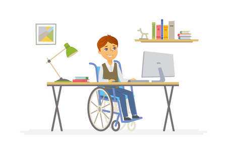 Online education - illustration of disabled school boy at home computer.
