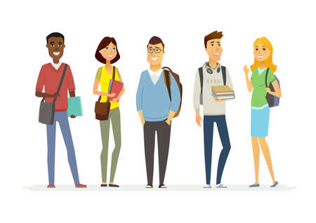 Happy senior school students - illustration of cartoon people characters.