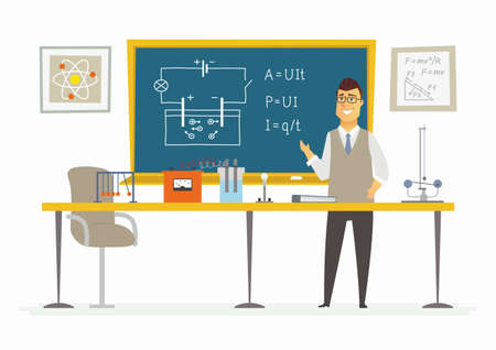 Fysiek klaslokaal - mannelijke leraarssamenstelling bij het bord.