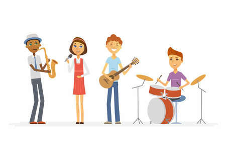 School music band - illustration of isolated cartoon people characters.