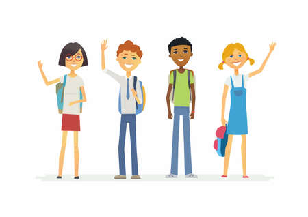 Happy standing schoolchildren with backpacks - illustration of cartoon people characters isolated.