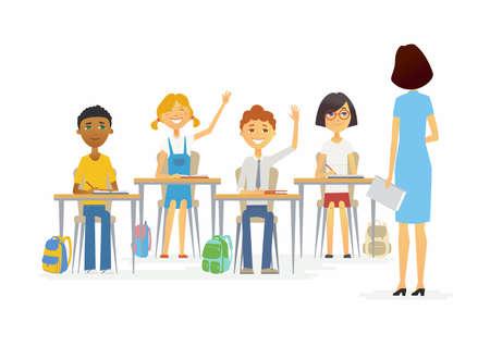 the elderly tutor: Lesson at school - cartoon people characters illustration. Illustration