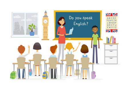 Engelse les op school - de illustratie van de karakterskarakters van beeldverhaalmensen