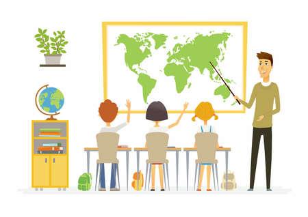地理の授業の学校 - 現代漫画の人々 の文字イラスト