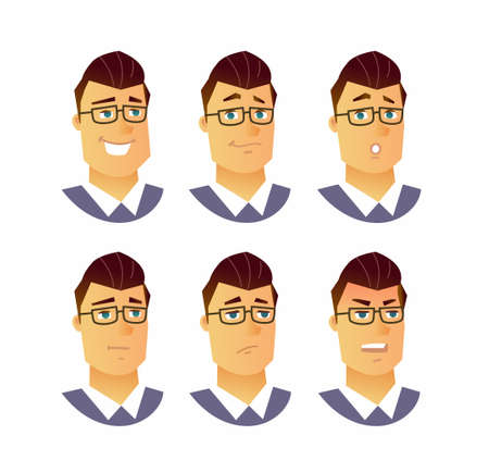 Male facial expressions - modern vector business cartoon characters illustration