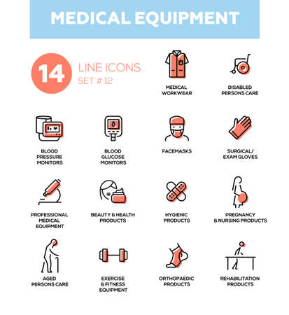 Medische apparatuur - set van vector iconen, pictogrammen. Gehandicaptenzorg, bloeddruk, glucosemonitor, facemasks examenhandschoenen, revalidatie, hygiënisch, zwangerschap, orthopedische producten fitness