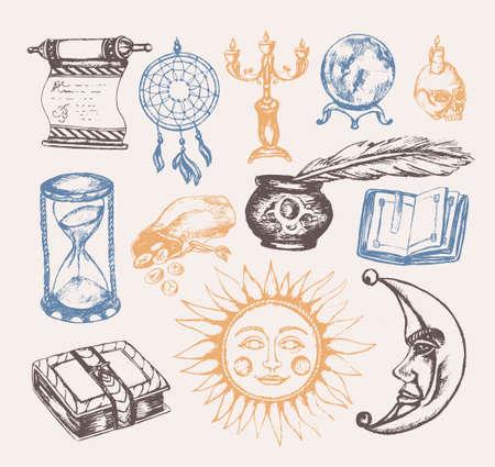 Mystical arts - vector vintage illustration.