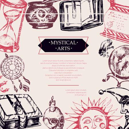 Mystische Kunst - Farbe Vektor gezeichnet Vintage Postkarte, kopieren Raum. Rollen, grimoire, feder, inkpot, kristallkugel, kerze, schädel, dreamcatcher, leuchter, tasche von runen, buch, sonne, mond, sanduhr Standard-Bild - 84362685
