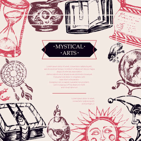 Mystical Arts - color vector drawn vintage postcard, copy space. Scroll, grimoire, feather, inkpot, crystal ball, candle, skull, dreamcatcher, candlestick, bag of runes, book, sun, moon, hourglass Illustration