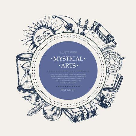 神秘的な芸術 - 現代ベクトル バナー、コピー領域の周囲に表示します。現実的なスクロール、グリモア、羽、インクつぼ、クリスタル ボール、キャンドル、頭蓋骨、ドリーム キャッチャー、ローソク足、ルーン袋、本、太陽、月、砂時計 写真素材 - 84362684