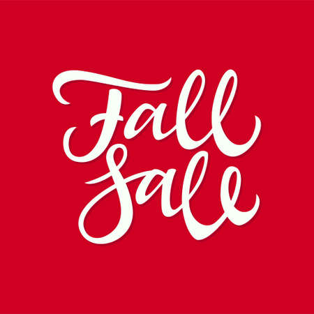 Fall Sale - vector hand drawn brush pen lettering design image. Red background. High quality calligraphy for autumn discount banners, flyers, cards to get the desired profit. 向量圖像