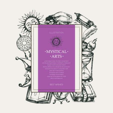 Mystical Arts - modern vector drawn square postcard, copy space.