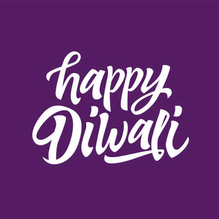 Happy Diwali - vector hand drawn brush pen lettering