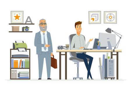 Toezicht op personeel - moderne cartoon zakelijke karakters illustratie Stock Illustratie