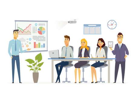 ビジネス会議 - 現代漫画文字図  イラスト・ベクター素材