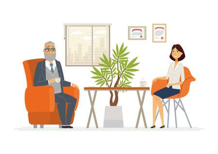 Consulta de negocios - vector moderno personajes de dibujos animados ilustración Foto de archivo - 84517321