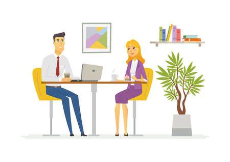 Koffiepauze - moderne vector cartoon zakelijke karakters illustratie