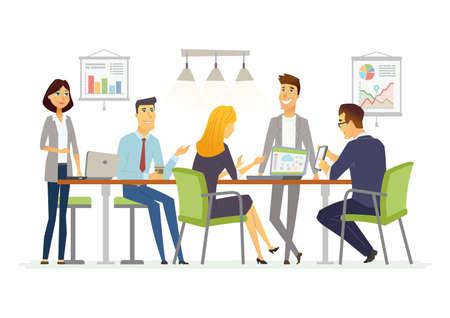 discusión de negocios - ilustración de personajes de dibujos animados moderno vector