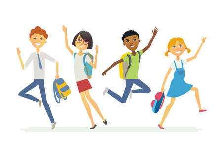 Happy jumping schoolchildren - cartoon people characters isolated illustration