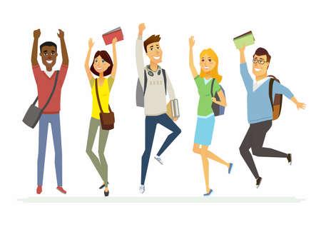 Happy jumping senior school students - cartoon people characters isolated illustration