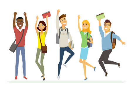 Happy jumping senior school students - cartoon people characters isolated illustration