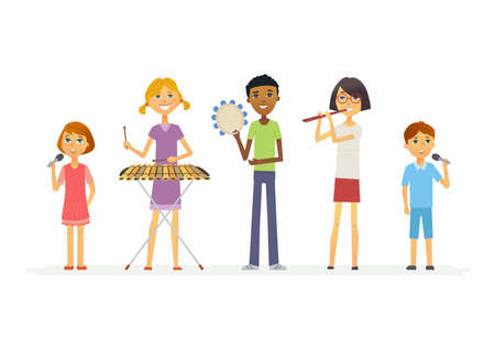 Happy schoolchildren playing music - cartoon people characters isolated illustration