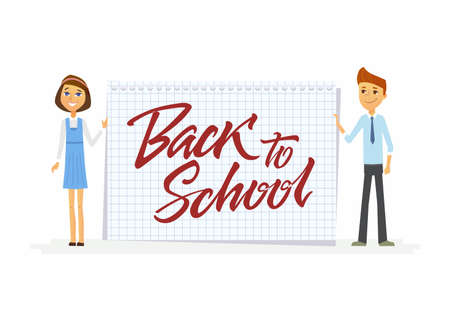 Back to school - characters of happy students with calligraphy lettering Illusztráció