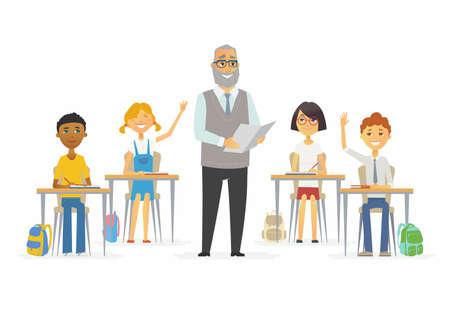 the elderly tutor: Lesson at school - cartoon people characters illustration